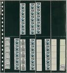 1 x LINDNER 738 Klarsichthüllen Schwarz 8 senkrechte Streifen 28x140 mm Für 16 Rollenmarkenstreifen