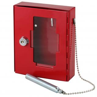 HMF 1021-03 Notschlüsselkasten Glasbruchhammer, 15 x 12 x 4 cm, rot