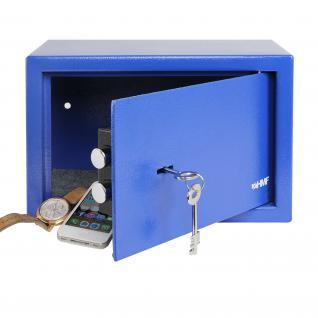 HMF 49200-05 Möbeltresor Doppelbartschloss, 31 x 20 x 20 cm, Blau