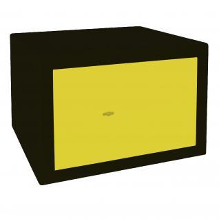HMF 43100-0217 Möbeltresor Safe Doppelbartschloss, Sicherheitsstufe B, VDMA 24992, 42 x 30 x 38 cm, Tresor, Schwarz Gelb