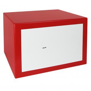 HMF 43100-0301 Möbeltresor Safe Doppelbartschloss, Sicherheitsstufe B, VDMA 24992, 42 x 30 x 38 cm, Tresor, Rot Weiß - Vorschau 2
