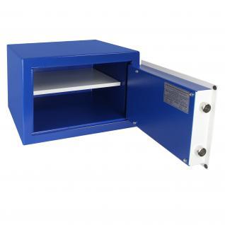 HMF 43100-0501 Möbeltresor Safe Doppelbartschloss, Sicherheitsstufe B, VDMA 24992, 42 x 30 x 38 cm, Tresor, Blau Weiß - Vorschau 3