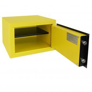 HMF 43100-1702 Möbeltresor Safe Doppelbartschloss, Sicherheitsstufe B, VDMA 24992, 42 x 30 x 38 cm, Tresor, Gelb Schwarz - Vorschau 3
