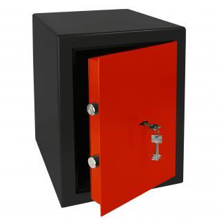 HMF 43200-0203 Möbeltresor Safe Doppelbartschloss, Sicherheitsstufe B, VDMA 24992, 30 x 42 x 38 cm, Tresor, Schwarz Rot