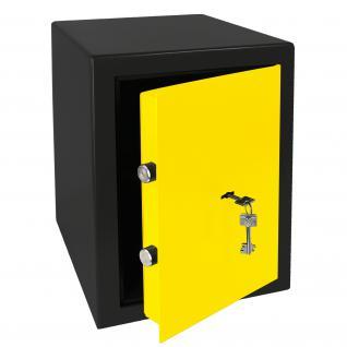 HMF 43200-0217 Möbeltresor Safe Doppelbartschloss, Sicherheitsstufe B, VDMA 24992, 30 x 42 x 38 cm, Tresor, Schwarz Gelb