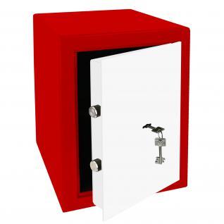 HMF 43200-0301 Möbeltresor Safe Doppelbartschloss, Sicherheitsstufe B, VDMA 24992, 30 x 42 x 38 cm, Tresor, Rot Weiß