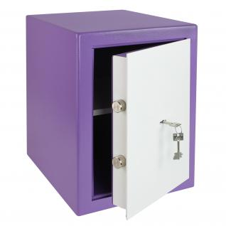HMF 43200-1301 Möbeltresor Safe Doppelbartschloss, Sicherheitsstufe B, VDMA 24992, 30 x 42 x 38 cm, Tresor, Lila Weiß
