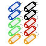 HMF 19010-99 Schlüsselanhänger mit Schlüsselring, Kunststoff, 5 x 2, 2 x 0, 26 cm, 10 Stück, farblich sortiert