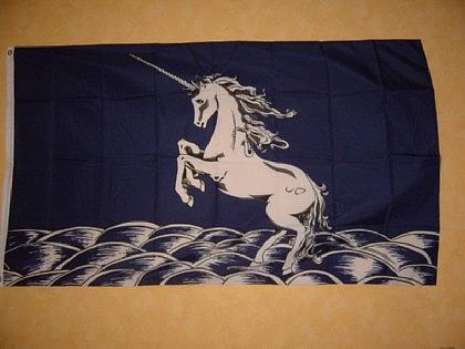 Flagge Fahne EINHORN BLAUER HINTERGRUND 150x90cm