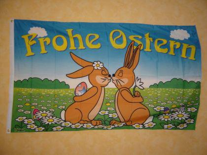Flagge Fahne FROHE OSTERN HASEN 150 x 90 cm
