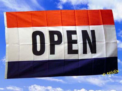 Flagge Fahne OPEN 150 x 90 cm