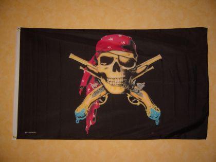 Flagge Fahne PIRAT MIT PISTOLE 150 x 90 cm - Vorschau