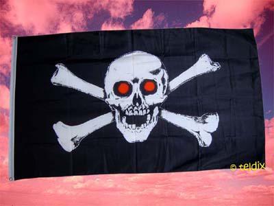 Flagge Fahne PIRAT ROTE AUGEN 150 x 90 cm - Vorschau
