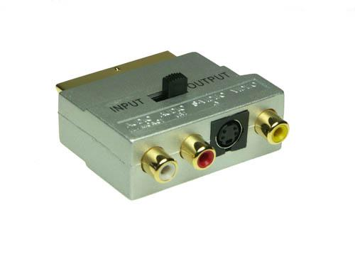 Premium Scart Adapterstecker, Scart / 3 x Cinch, In + Out, Good Connections®