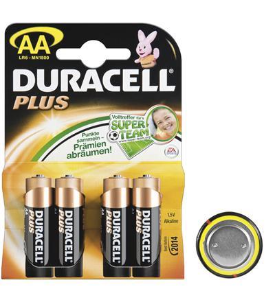 Duracell® Plus Batterie (Alkali Mignon) LR 6 DP (AA) 1, 5V, 4er Pack in Blister