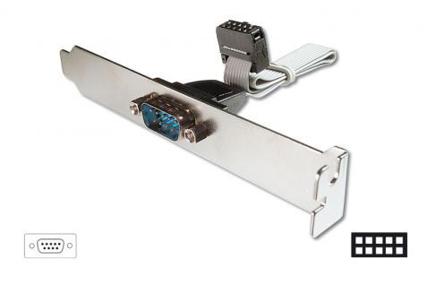 Slotblech mit seriellem 9pol Stecker an 10-pin Buchsenleiste