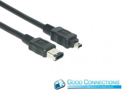 Anschlusskabel FireWire IEEE1394a 6/4, schwarz, 3m, Good Connections®