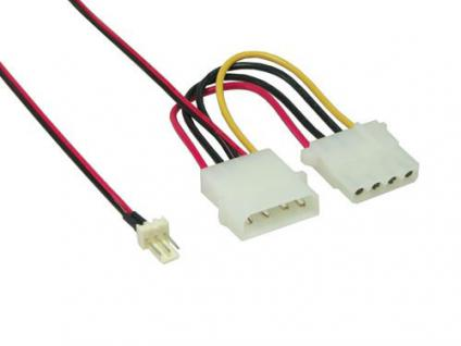 Lüfter-Adapterkabel, 4pin St. an 3pin St. + 4pin Bu, 15cm, Good Connections®