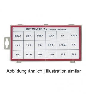 Feinsicherungen Set, 6, 3x32 träge Inhalt: 18 Werte zu je 10 Stück