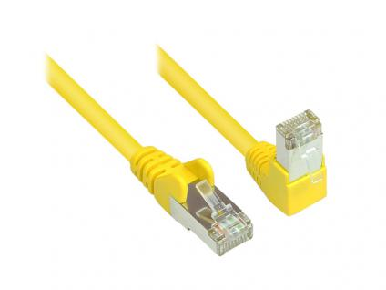 Kabelmeister® Patchkabel, Cat. 6, S/FTP, PiMF, 250MHz, einseitig 90____deg; nach unten gewinkelt, gelb, 20m
