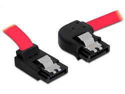 Anschlusskabel, SATA bis 3Gb/s, abgewinkelt, rechts/oben Metall, rot, 0, 3m, Delock® [82622]