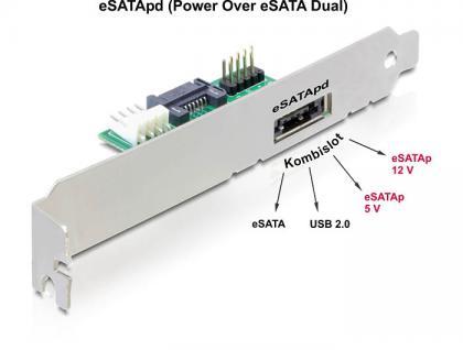 eSATApd Slotblech 1 Port 5V/12V, Delock® [61797]