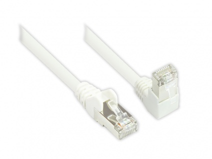 Patchkabel, Cat. 6, S/FTP, PiMF, 250MHz, einseitig 90____deg; nach unten gewinkelt, weiß, 5m, Good Connections