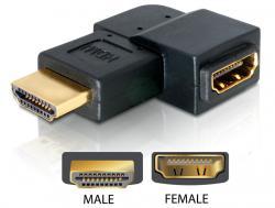 Adapter, HDMI Stecker an HDMI Buchse, 90° gewinkelt, links, Delock® [65077]