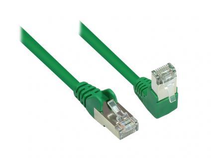 Kabelmeister® Patchkabel, Cat. 6, S/FTP, PiMF, 250MHz, einseitig 90____deg; nach unten gewinkelt, grün, 15m