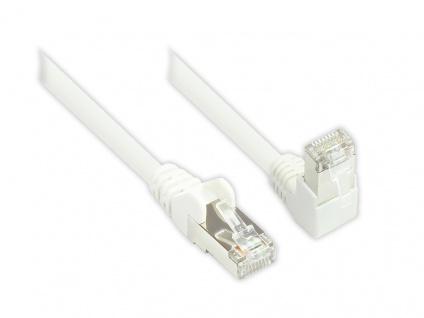 Patchkabel, Cat. 6, S/FTP, PiMF, 250MHz, einseitig 90____deg; nach unten gewinkelt, weiß, 10m, Good Connections