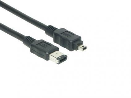 kabelmeister® Anschlusskabel FireWire IEEE1394a 6/4, schwarz, 2m