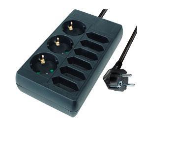Steckdosenleiste, 9-fach, 3x Schutzkontakt und 6x Euro, einseitig platziert, schwarz, 1, 4m, Good Connections®