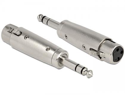 XLR Adapter, 3pol XLR Buchse an 6, 35 mm Klinkenstecker, stereo, Delock® [84623]