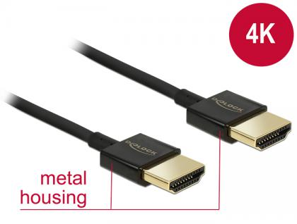 Kabel High Speed HDMI mit Ethernet - HDMI-A Stecker an HDMI-A Stecker 3D 4K 1 m Slim Premium, Delock® [84771]