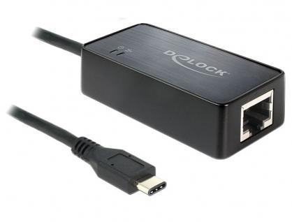 Adapter SuperSpeed USB 3.1 (Gen1) CÖ Stecker an 1x Gigabit Lan RJ45 10/100/1000 Mb/s, Delock® [62642]