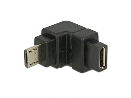Adapter USB 2.0, micro Stecker B an micro Buchse B, unten gewinkelt, Delock® [65668]
