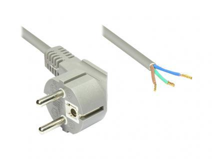 Netzkabel Schuko-Stecker gewinkelt mit abisolierten Enden, grau, 1, 5m, Good Connections®