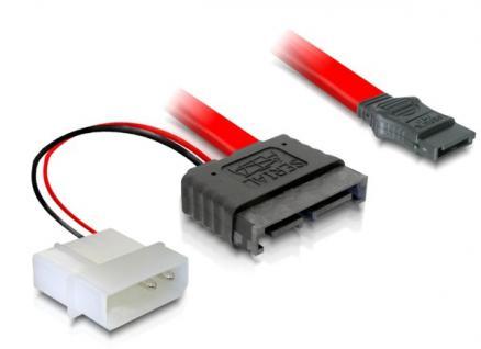 kabelmeister® S-ATA Slimline ALL-in-One Anschlusskabel Stecker + 2pin Power auf S-ATA, 0, 3m