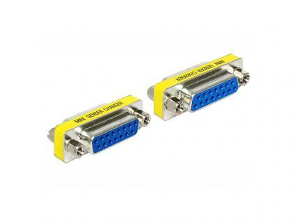 Adapter Sub-D 15 Pin Buchse an Sub-D 15 Pin Buchse, Gender Changer, Delock® [65480]