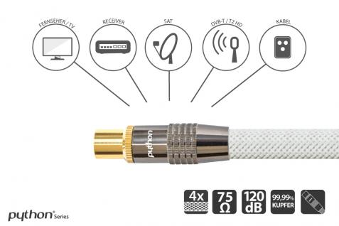 SAT Antennenkabel, IEC/Koax Stecker an Buchse, vergoldet, Schirmmaß 120 dB, 75 Ohm, Nylongeflecht weiß, 10m, PYTHON® Series