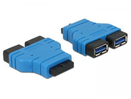 Adapter USB 3.0 Pfostenbuchse an 2 x USB 3.0 Typ-A Buchse - nebeneinander, Delock® [65670]