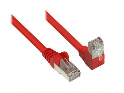 Kabelmeister® Patchkabel, Cat. 6, S/FTP, PiMF, 250MHz, einseitig 90____deg; nach unten gewinkelt, rot, 15m