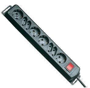 REV® QSL 8 fach Tischsteckdose mit Schalter 5m schwarz
