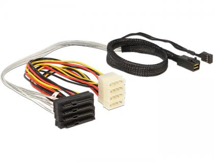 SAS Kabel HD x 4 SFF 8643 Stecker auf 4 x SAS 29 Pin SFF 8482 Buchse, 0, 5m, Delock® [83390]