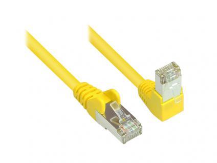 Kabelmeister® Patchkabel, Cat. 6, S/FTP, PiMF, 250MHz, einseitig 90____deg; nach unten gewinkelt, gelb, 15m