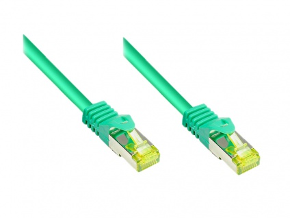 RJ45 Patchkabel mit Cat. 7 Rohkabel und Rastnasenschutz (RNS®), S/FTP, PiMF, halogenfrei, 500MHz, OFC, grün, 50m, Good Connections®