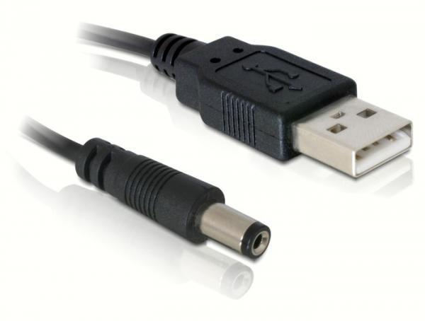 USB Power Anschlusskabel USB A Stecker an Hohlstecker 5, 4mm, Länge: 1m