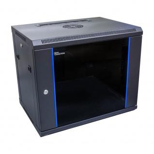 19' Wandgehäuse, 9HE, tiefschwarz (RAL9005) 600 x 450mm, fertig montiert, Good Connections®