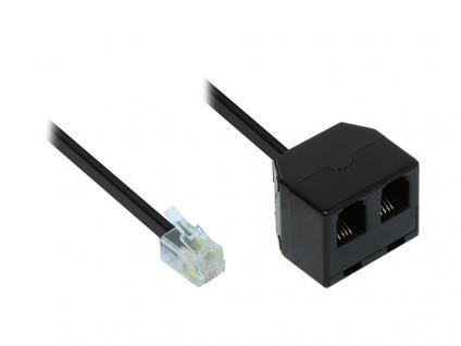 Adapter Modular Verbinder, Western-Stecker 4/4 auf 2x Western-Kupplung 4/4, schwarz, 0, 15m, Good Connections