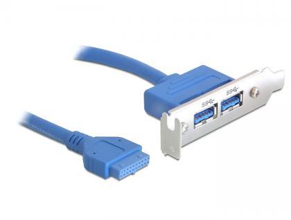 Slotblech USB 3.0 Pin Header 19 Pin 1 x intern an 2x USB 3.0-A Buchse extern Low Profile, Delock® [82976]